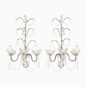 Mid-Century Italian Beaded Wall Sconces, Set of 2