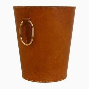 Leather Waste Bin by Carl Auböck for Illums Bolighus, 1950s