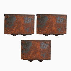 Lámparas de pared para exteriores vintage de cobre de Falkenbergs Belysning. Juego de 3