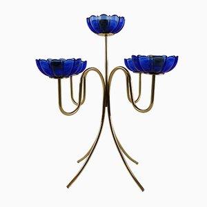 Candelabro vintage in vetro blu di Gunnar Ander per Ystad-Metall