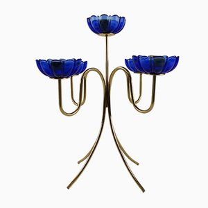 Vintage Blue Glass Candelabra by Gunnar Ander for Ystad-Metall