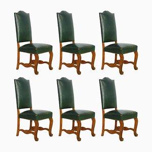 Französische Esszimmerstühle aus grünem Leder, 1920er, 6er Set