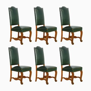French Green Leather Dining Chairs, 1920s, Set of 6