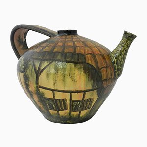 Basque Hand Painted Terracotta Pitcher, 1970s