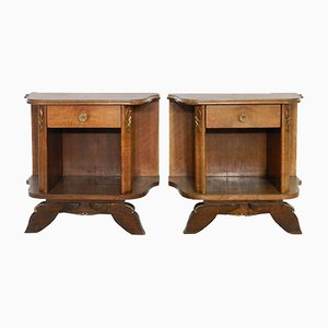 Mid-Century French Walnut Nightstands, Set of 2
