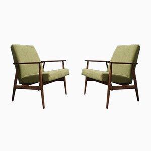 Grüne Mid-Century Armlehnstühle von H. Lis, 1970er, 2er Set