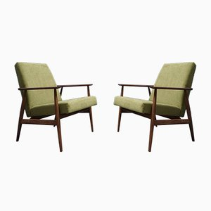 Mid-Century Green Armchairs by H. Lis, 1970s, Set of 2