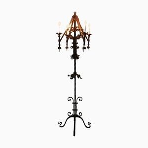 Gothic Style Wrought Iron Floor Lamp, 1920s