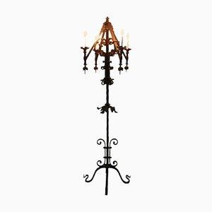Lámpara de pie estilo gótico de hierro forjado, años 20