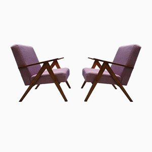 Mid-Century Modern Pink Tweed Easy Chairs, Set of 2