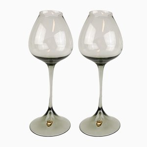 Grey-Tinted Tulip Glasses by Nils Landberg for Orrefors, Set of 2