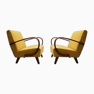 Mid-Century Lehnstühle von Jindřich Halabala für Thonet, 1930er, 2er Set