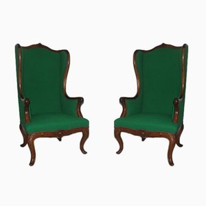 Green Armchairs, 1950s, Set of 2