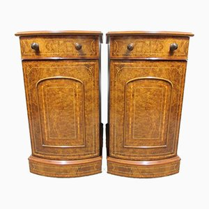 Victorian Bow Fronted Burr Walnut Inlaid Nightstands, 1870s, Set of 2