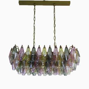 Lámpara de araña de cristal de Murano multicolor de Mazzega, 1978