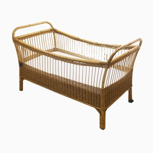 Vintage Rattan & Bamboo Crib