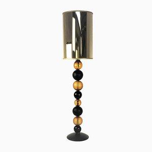 Lámpara de mesa esférica en ámbar y negro de Eros Raffael para Gallery30141
