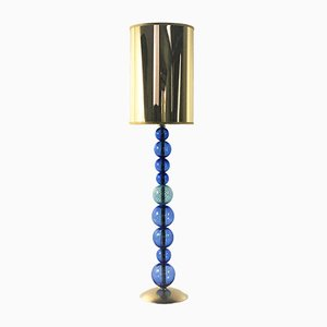 Hellblaue kugelförmige Tischlampe von Eros Raffael für Gallery30141