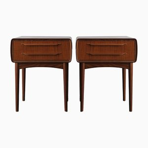 Vintage Danish Teak Veneered Tables by Johannes Andersen for CFC Silkeborg, Set of 2