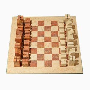 Juego de ajedrez de travertino rojo y blanco de Angello Mangiarotti, años 50