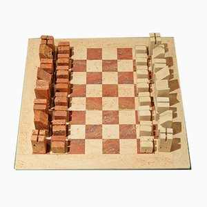 Red and White Travertine Chess Game by Angello Mangiarotti, 1950s