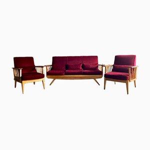 Set da salotto Mid-Century moderno in olmo, anni '60
