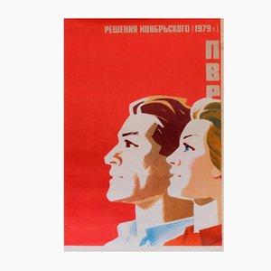 November Decisions 1979 Soviet Union Worker Communist Propaganda Poster