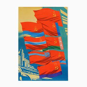 Poster della propaganda con bandiere sovietiche, 1979