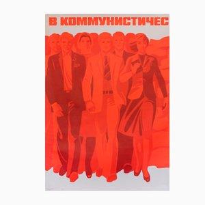 Poster della propaganda comunista dei lavoratori, 1980