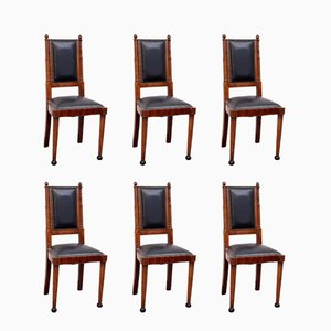 Art Deco Dining Chairs from Meroni & Fossati, Set of 6