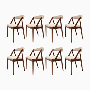 Chaises de Salon en Palissandre et Teck par Kai Kristiansen, Danemark, 1960s, Set de 8