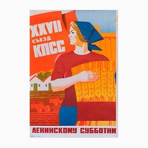 Affiche Soviétique Travail du Samedi, 1986