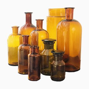 Vintage Apothecary Bottles, Set of 10
