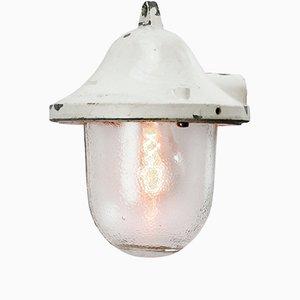 Weiße industrielle Vintage Lampe aus Gussaluminium