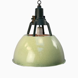 Vintage Industrial Green Enamel Pendant Light
