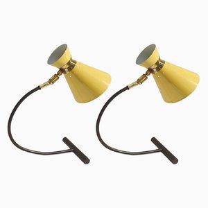 Lámparas de mesa articuladas en negro y amarillo de Jean B Lacroix, años 50. Juego de 2