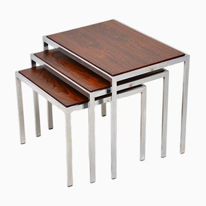 Vintage Rosewood & Chrome Nesting Tables, 1960s
