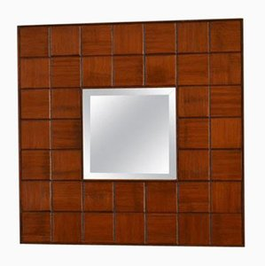 Italian Square Carved Wood Mirror, 1960s