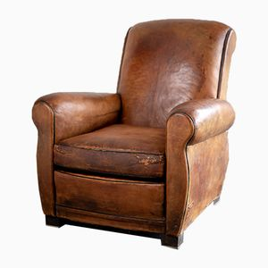 Vintage Cognac Brown Leather Club Chair, 1920s