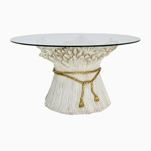 Mesa de centro italiana con base en forma de gavilla de trigo dorada y blanca, años 70