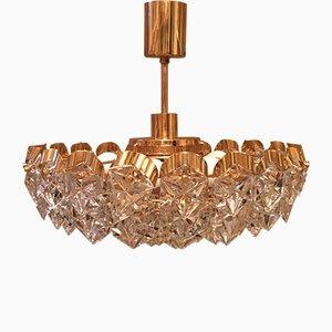 Lámpara de araña de latón dorado y cristal de Kinkeldey