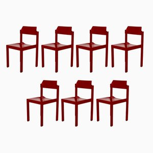 Red Beech Wood Dining Chairs by Rainer Schell, 1960s, Set of 7