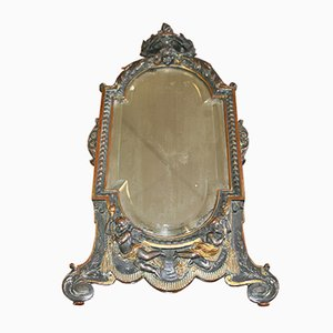 Antiker Spiegel mit Bronzerahmen von T. Hingre