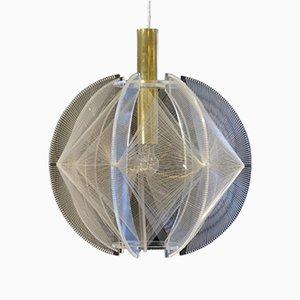 Lámpara colgante escultural esférica de metacrilato transparente, latón y malla de alambre de Sompex, años 70