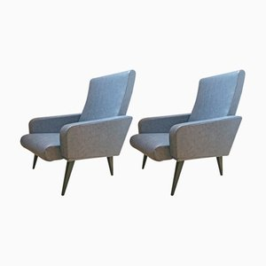 Lounge Chair with Compass Feet, 1950s, Set of 2