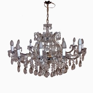 Vintage Murano Glass & Crystal Chandelier, 1950s
