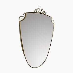Schildförmiger Vintage Spiegel mit Messingrahmen