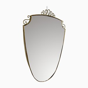 Vintage Shield Mirror with Brass Frame