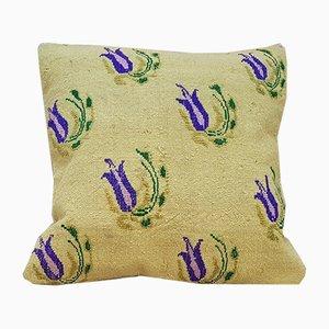 Kelim Kissenbezug aus Teppichstoff mit floralem Muster von Vintage Pillow Store Contemporary