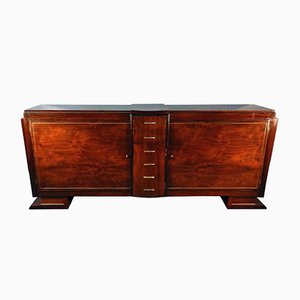 Art Deco Rosewood Veneer and Brass Sideboard, 1930s